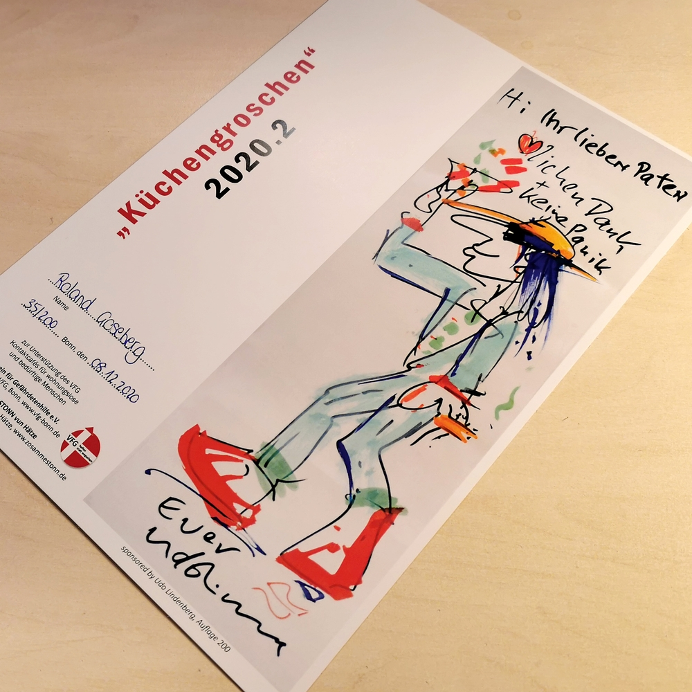 Die Urkunde: Küchengroschen 2020.2 ziert ein Bild von Udo Lindenberg