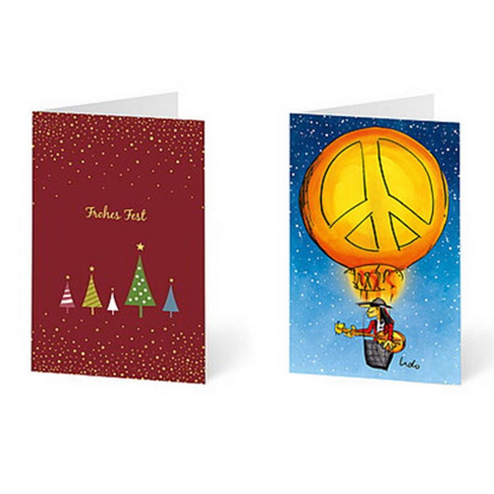 Rote und blaue Grußkarten mit Weihnachtsbaum- und Heißluftballonmotiven