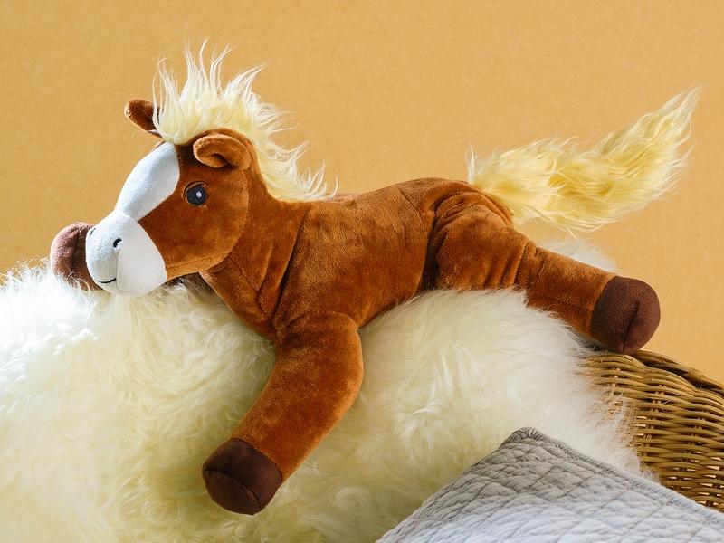 Braunes Stoff-Pony mit plüschiger heller Mähne und Schweif